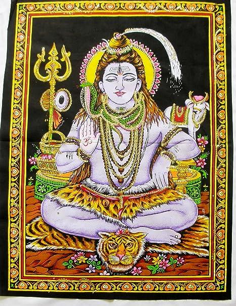 Amazon Com Yapree Handmade Meditating Shiva Cotton Tapestry With Sequins Large 40 X 30 Home Kitchen