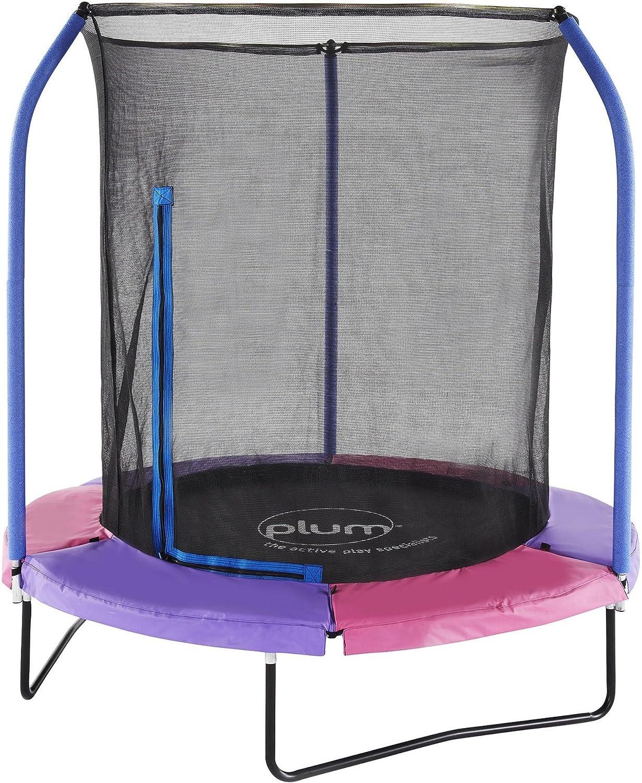 Neuf Prune 1,8m trampoline avec filet de sécurité–Multicolore/réversible