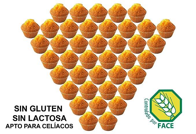 Magdalenas Artesanas Sin Gluten, Sin Lactosa. Apto para Celíacos. 40 Magdalenas.