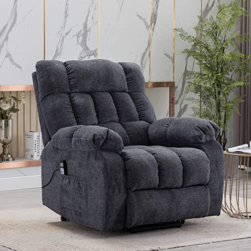 Electric Lift Recliner with Heat Therapy and Massage, Suitable for The Elderly, Heavy Recliner, with Modern Padded arms and Back, Blue