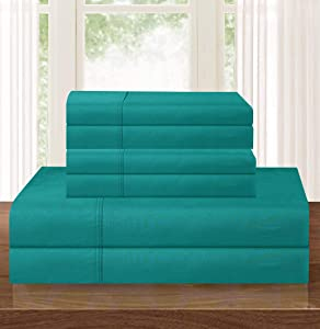 Elegant Comfort Luxurious Soft 1500 Thread Count Egyptian 6-Piece Premium Hotel Quality Wrinkle Resistant Coziest Bedding Set, Easy All Around Elastic Fitted Sheet, Deep Pocket, Queen, Turquoise