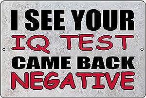 Rogue River Tactical Funny IQ Test Metal Tin Sign Wall Decor Man Cave Bar Sarcastic Signs