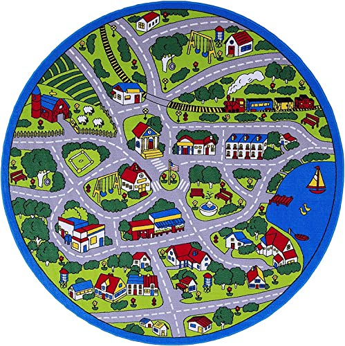 Kids Round Rug Street Map in Grey Learning Area Rug – Non Slip Bottom 7 6 Diameter Round