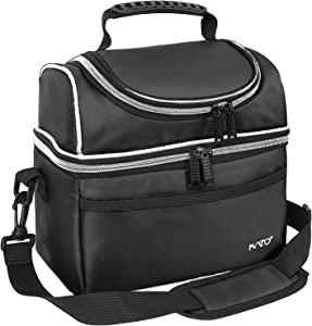 Kato Insulated Lunch Bag, Leakproof Bento Thermos Cooler Bag for Men and Women, Dual Compartment Thermal Lunch Box Tote, Black