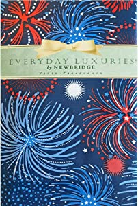 """Newbridge Fireworks Celebration Vinyl Flannel Backed Tablecloth - Americana Patriotic Red, White and Blue Fireworks Indoor/Outdoor Party Tablecloth - 52"""" x 52"""" Square"""