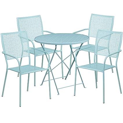 Enjoyable Amazon Com Flash Furniture 30 Round Sky Blue Indoor Bralicious Painted Fabric Chair Ideas Braliciousco