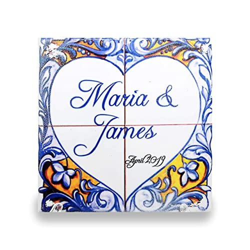 custom ceramic tile azulejo with traditional portuguese design for house number name or any text you desire
