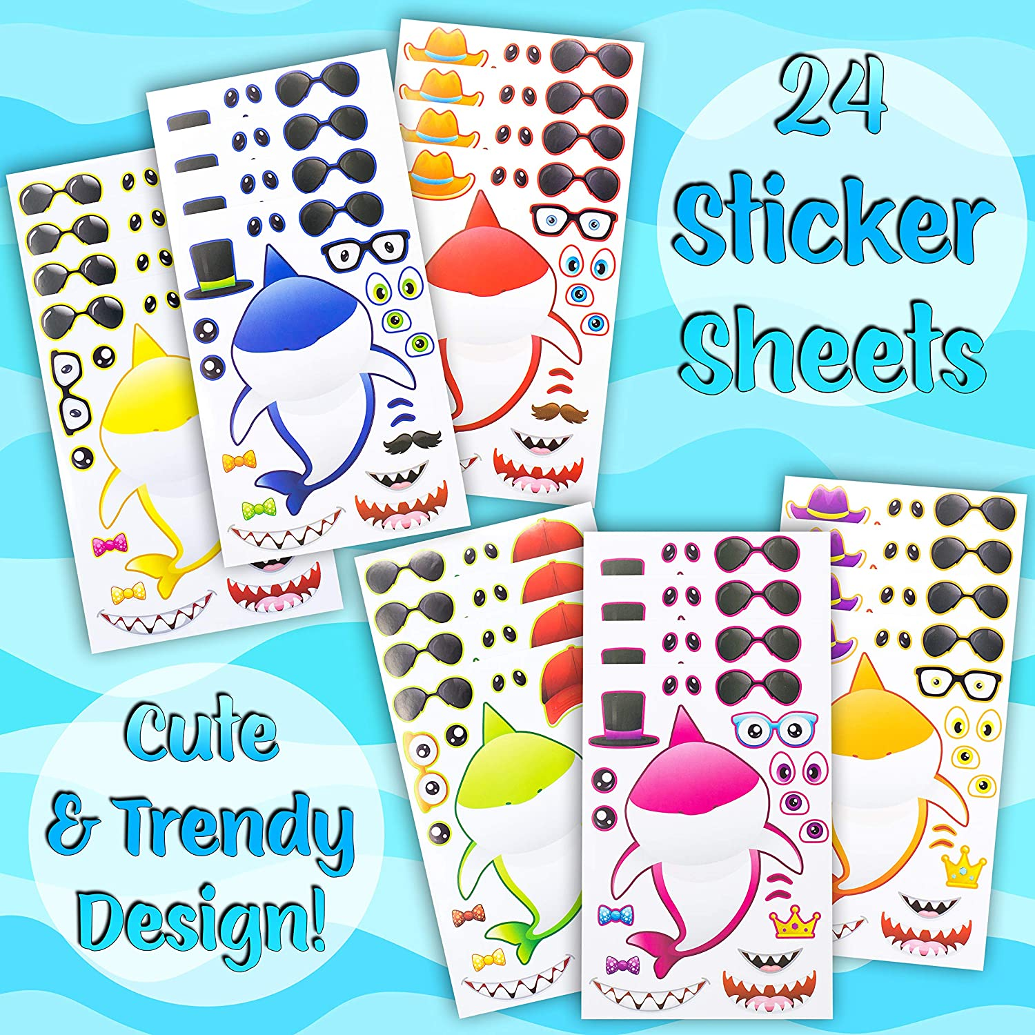 Let Your Kids Get Creative /& Design Their Favorite Shark Stickers 24 Make A Shark Pup Stickers for Kids Decorations Great for Birthday Party Favors Prizes Fun Kids Craft Activity