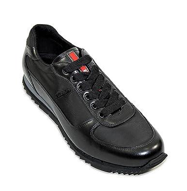 Prada Men's Plume Leather With Nylon Trainer Sneaker, Black (Nero) 4E2721  (US