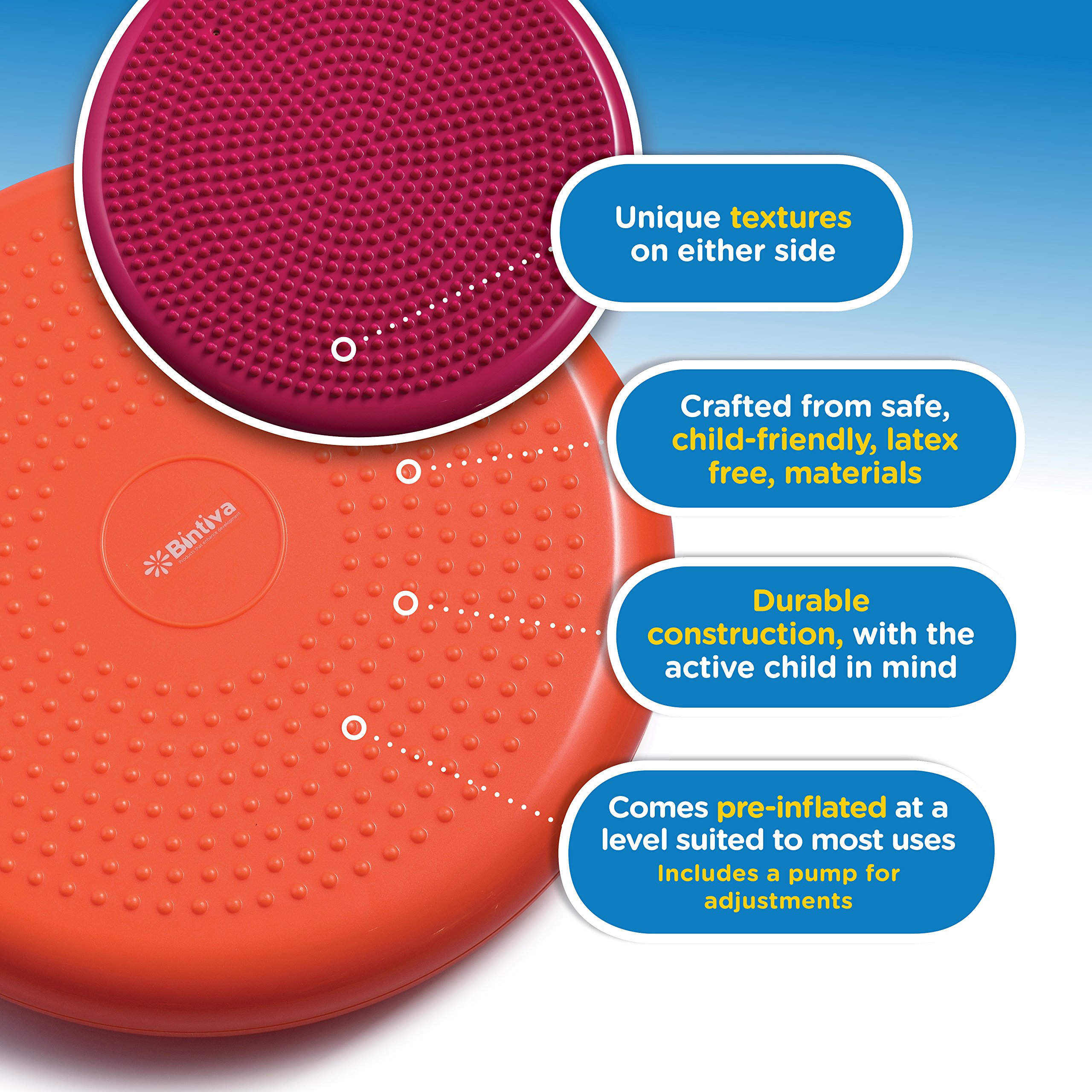 Inflated Stability Wobble Cushion, Including Free Pump / Exercise Fitness Core Balance Disc,Blue,size: 13 inches / 33 cm diameter by bintiva (Image #5)