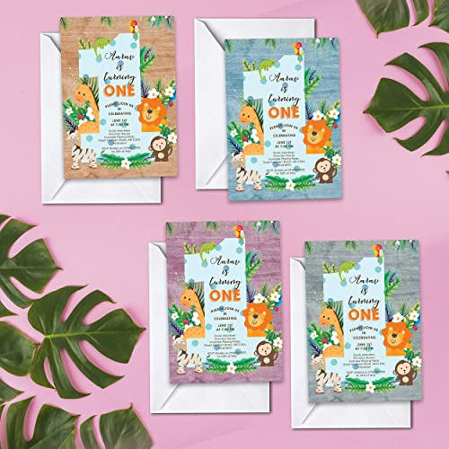 Jungle Safari Animals Personalised Birthday Party Thank You Cards
