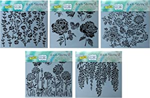 5 Crafters Workshop Mixed Media Stencils | Floral Theme with Assorted Flowers | for Journaling, Scrapbooking, Arts, Card Making | 6 Inch x 6 Inch Templates Set
