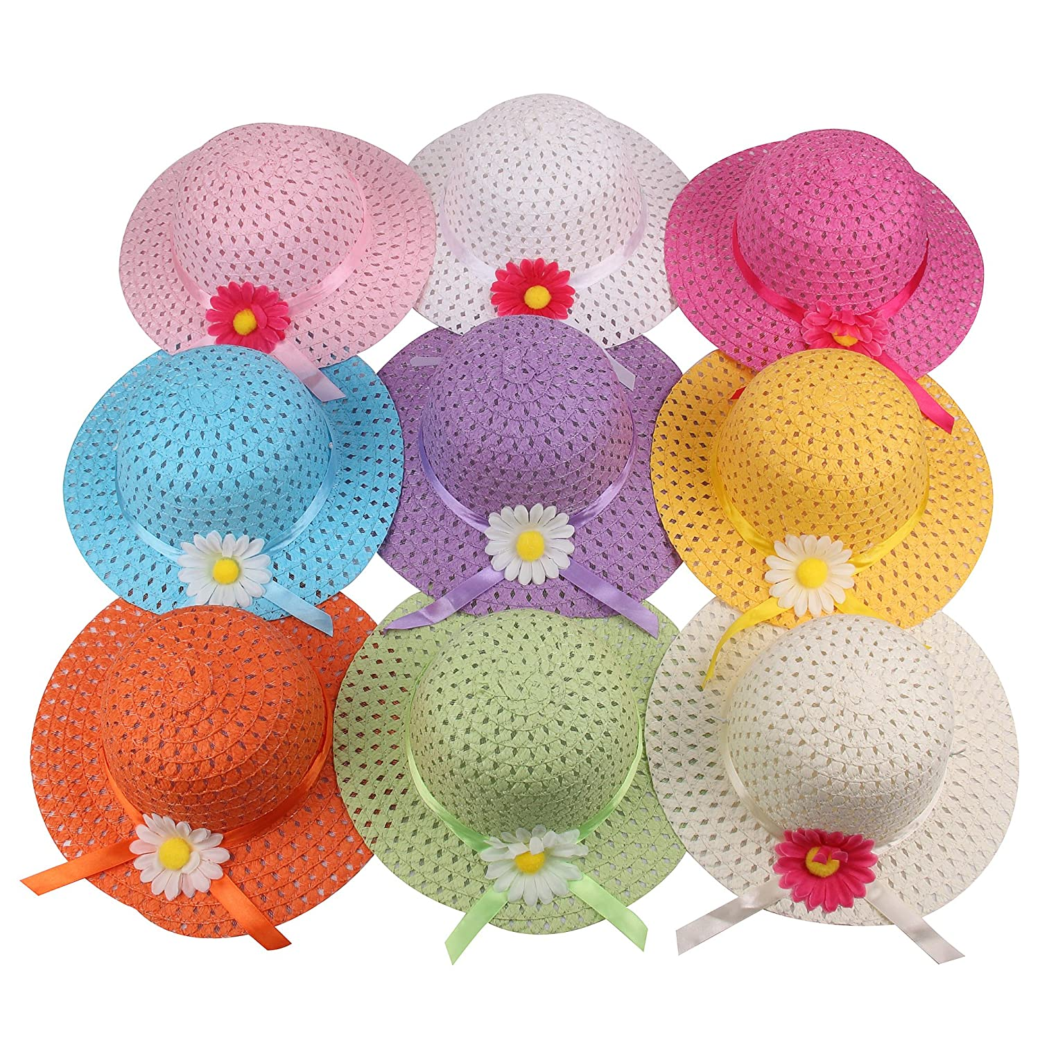 Girls Sunflower Straw Tea Party Hat Set (9 Pcs, Assorted Colors) Milky Sky