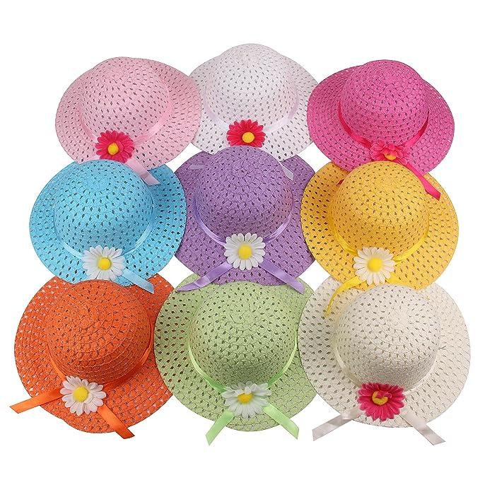 Amazon.com: Juego de niñas sombrero de paja fiesta de té de ...