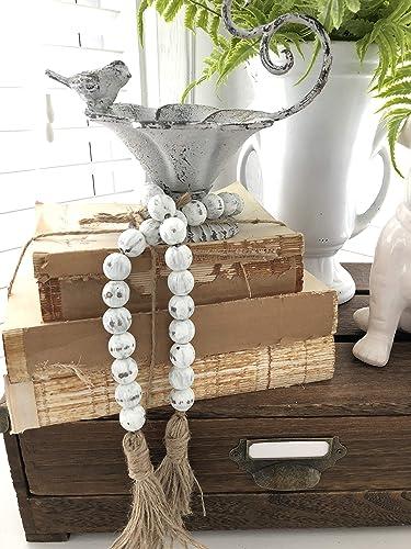 Amazon Com White Chippy Farmhouse Beads Wood Bead Garland Home