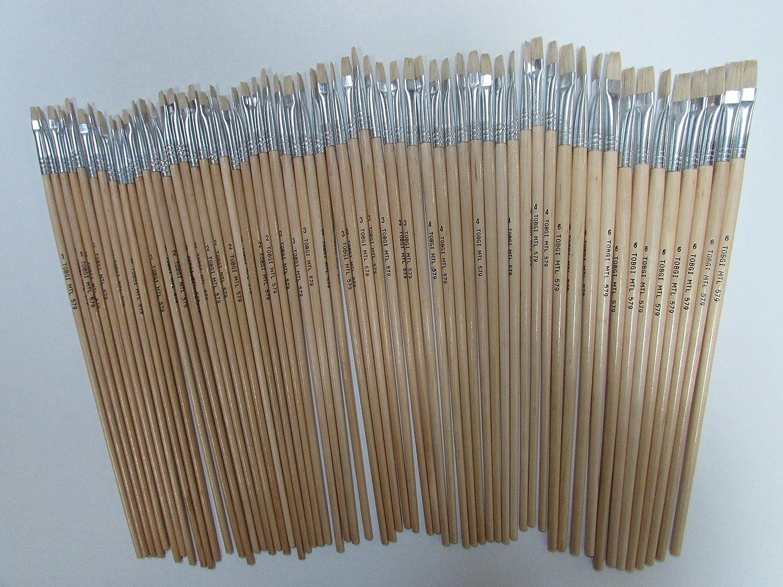 60pcs Tobgi Artist White Bristle Brushes Acrylic and Oil Brush Sizes #1, 2, 3, 4, 6 (12 of each)