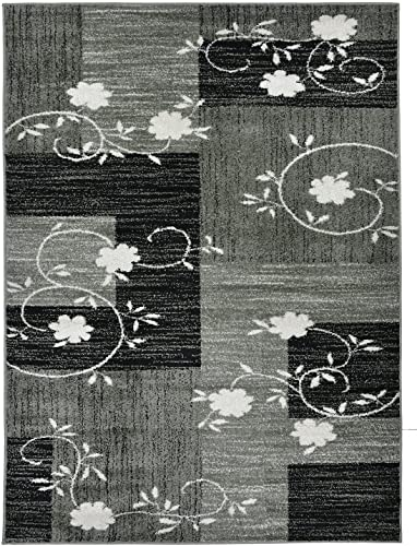 Designer Collection Squares and Flowers Design Contemporary Modern Area Rug Rugs 3 Options Grey, 7 10 x9 10