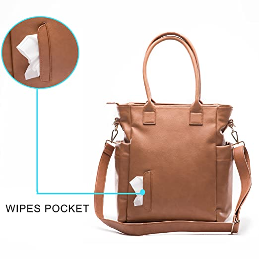 Amazon.com : Miss Fong Leather Diaper Bag for Moms with Chaining pad, Wipes Pouch, Stroller Straps and Insulated Bottle Pocket (Brown) : Baby