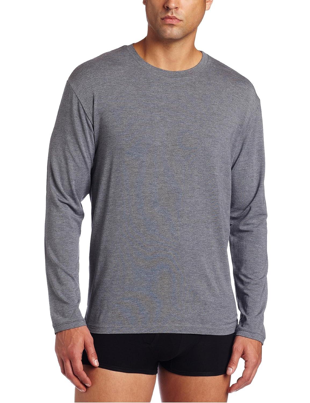 Derek Rose mens Long sleeve naturally tee shirt - charcoal 3083-MARL001