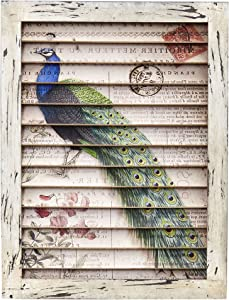 Nearly Natural 7022 Peacock Window Shutter Wall DÃcor,Multicolor,18.5'' x 2.5'' x 13.5''