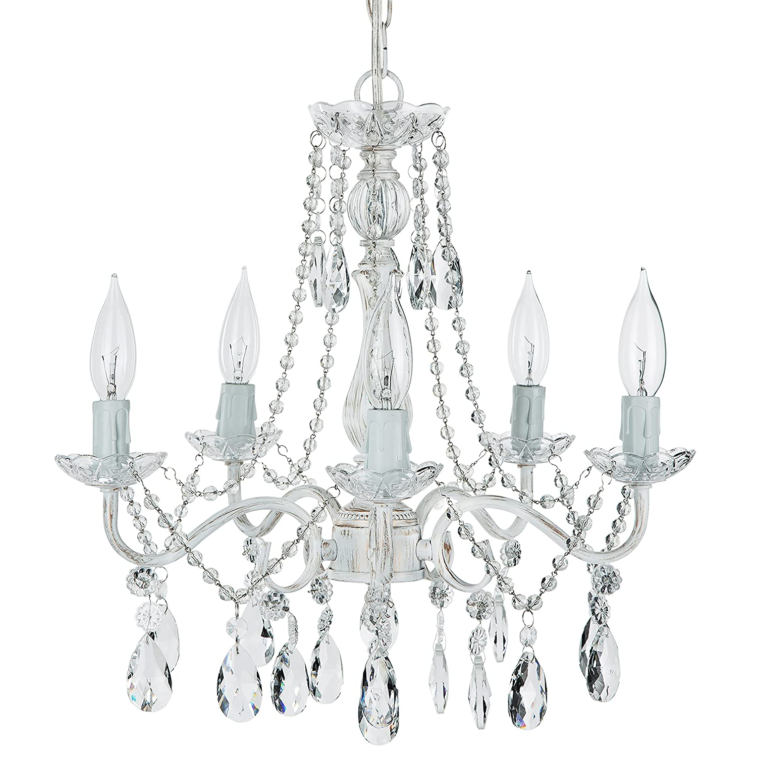 Elizabeth Antique White Washed Crystal Chandelier, Mini Swag Plug-In 5  Light Glass Pendant Wrought Iron Ceiling Lighting Fixture Lamp - -  Amazon.com - Elizabeth Antique White Washed Crystal Chandelier, Mini Swag Plug-In