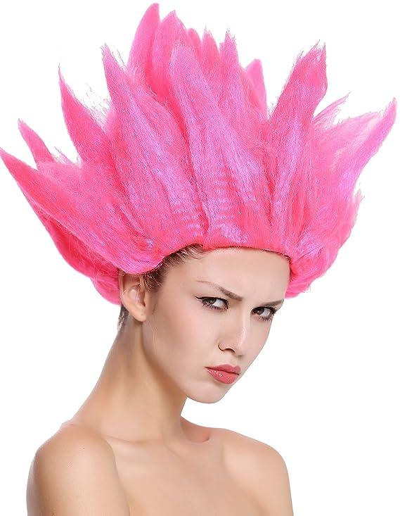 WIG ME UP ® - 91062-PC3 Peluca Hombres Mujeres Carnaval Halloween Cosplay Loki Flor tulipán Demonio haha Diablo Rosa: Amazon.es: Juguetes y juegos