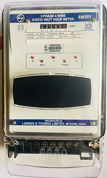 8342f29e2 L&T ( Larsen & Toubro) 3 Phase 4 Wire Static Watt Hour Meter Counter Type