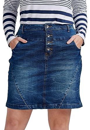 af7c98c78d Ellos Women's Plus Size 4-Button Denim Skirt - Medium Stonewash, 10 at  Amazon Women's Clothing store: