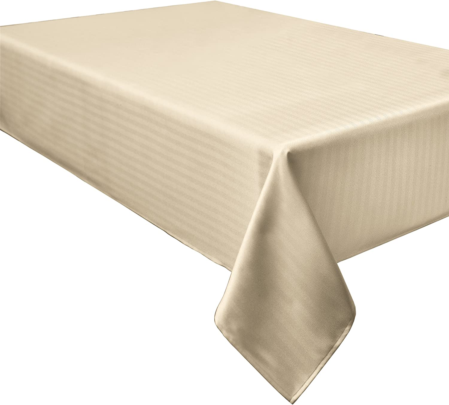 Creative Dining Group Herringbone Weave Spillproof Tablecloth, 60 by 120-Inch, Cream