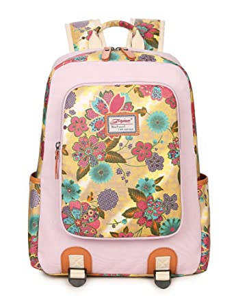 Teenage Girls School Bookbags, Cute College Student Backpack Floral Bag for Women Knapsack Pink