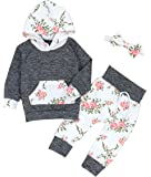 Oklady Christmas Baby Girls Florals Outfit Set Long Sleeve Hoodie Sweatshirt with Headbands