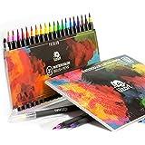3-in-1 Premium Watercolor Brush Tip Pen Set – 20 Watercolor Markers - Real Brush Tip + 1 Refillable Water Brush | BONUS Watercolor Cotton Paper Pad | Vibrant Colors for Painting & Lettering by LizART