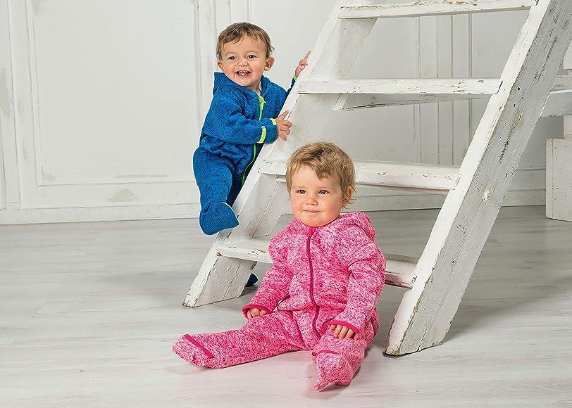 92 Grau 33 Grau Playshoes Baby-Unisex Strickfleece-Overall Schneeanzug