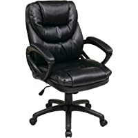 Office Star WorkSmart Faux Leather Manager's Chair with Padded Arms, Black