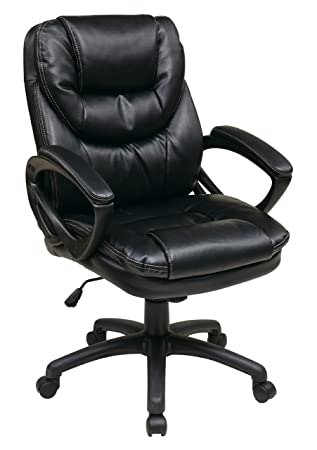 Office Star Faux Leather Manageru0027s Chair With Padded Arms, Black