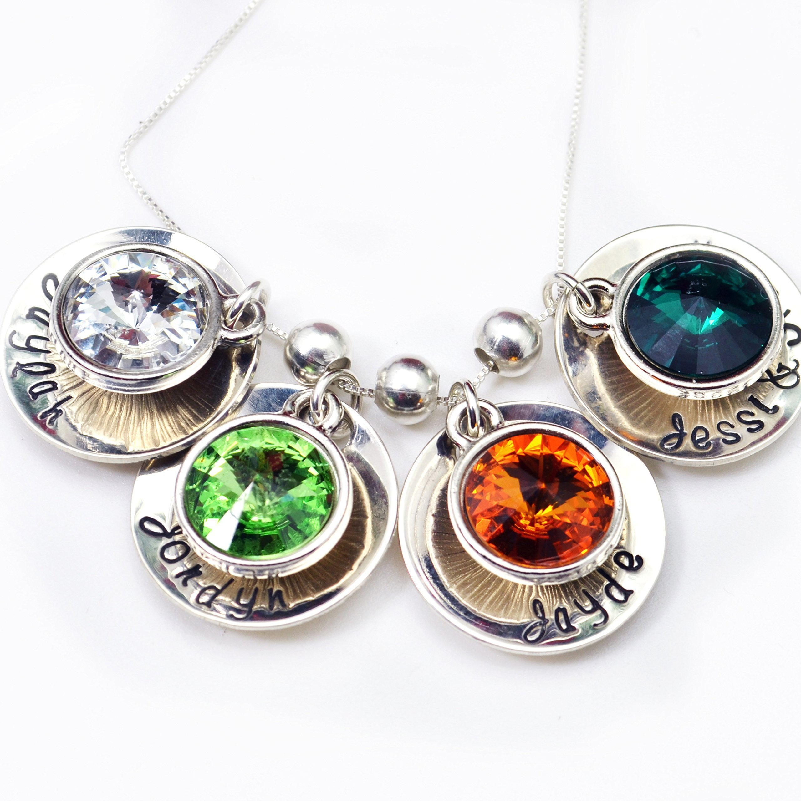 Personalized Family of Four Swarovski Rivoli Crystal Birthstone Name Necklace - Mother's Day Gift