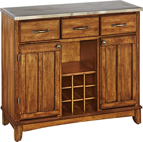Buffet of Buffets Cottage Oak with Stainless Steel Top by Home Styles
