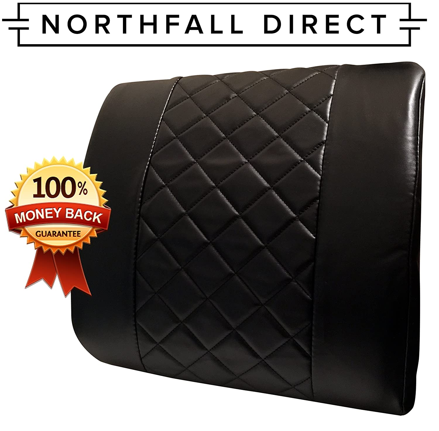 Amazon Premium PU Leather Lumbar Support by NorthFall Direct