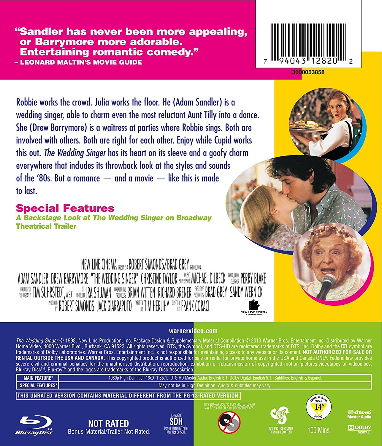 Amazon The Wedding Singer Totally Awesome Edition Blu Ray Frank Coraci Robert Simonds Brad Grey Sandy Wernick Jack Giarraputo Richard Brener