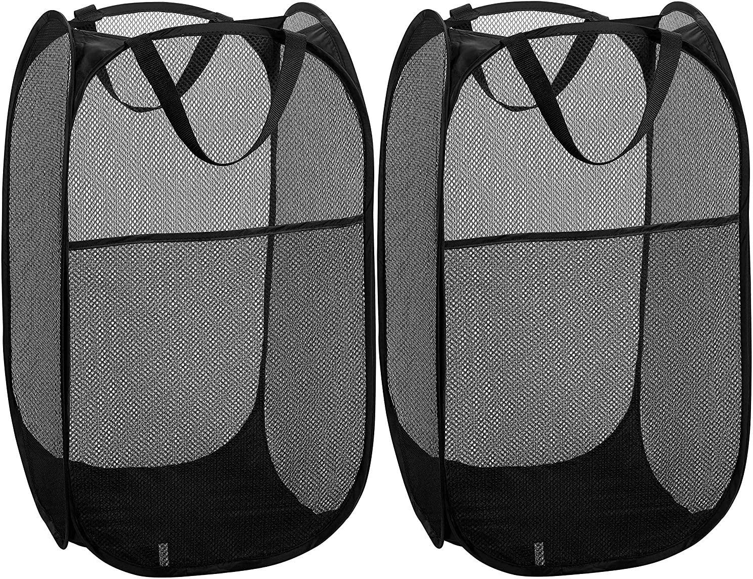 V-Shine Mesh Pop-Up Laundry Hamper, Collapsible Mesh Laundry Hamper Basket with Reinforced Carry Handles,Folding Pop-Up Clothes Hampers for Room, College Dorm or Travel (Black, 2Pack)