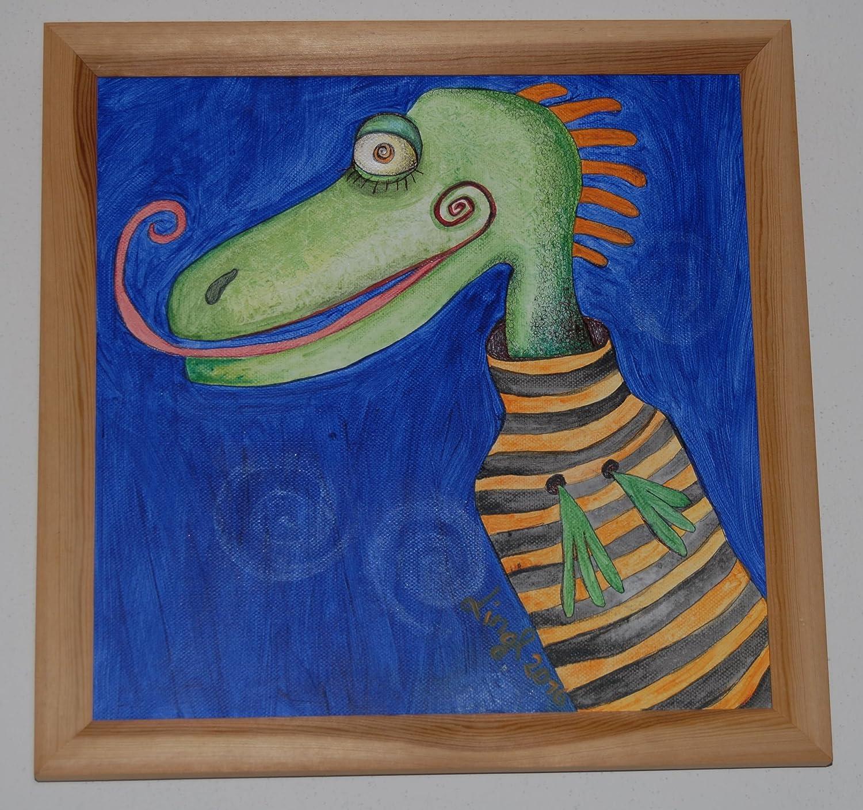 Bild auf Leinwand mit Holzrahmen, Dino, Original, Acrylmalerei ...