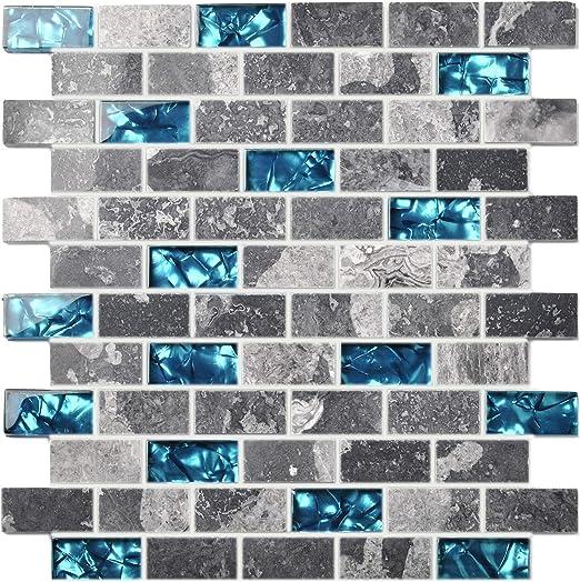 Ocean Teal Blue Gl Nature Stone Tile Kitchen Backsplash 3D Bath Shower on