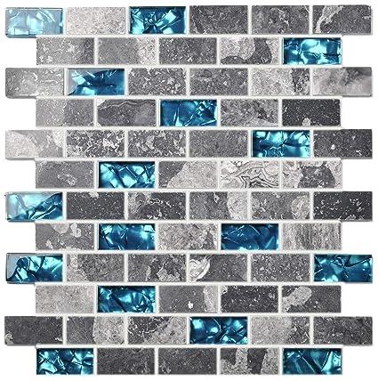 Ocean Teal Blue Glass Nature Stone Tile Kitchen Backsplash 3D Bath Shower  Accent Wall Decor Gray Wave Marble 1 x 2 Subway Art Mosaics TSTNB03 (1 ...