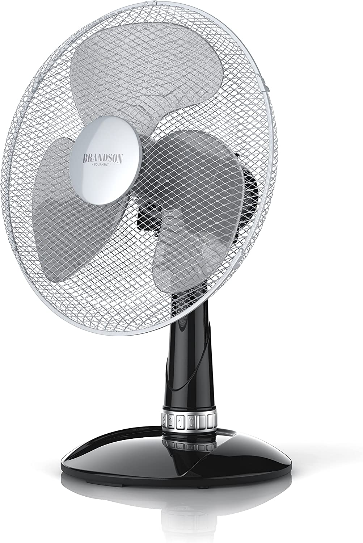 Brandson - Ventilador de Mesa 40 cm - Ventilador de Escritorio - 3 Niveles de Potencia - Potencia 50W - Flujo de Aire Elevado - Grado de inclinación 30 grado - Oscilación Aprox. 85 grado - Negro Plata