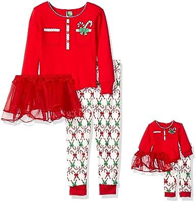 Dollie   Me Little Girls  Candy Cane Button Front Tutu Snugfit Sleepwear Set b14797ced