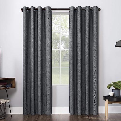 Sun Zero Ruben Dimensional Thermal Extreme 100 Blackout Grommet Curtain Panel, 52 x 96 , Charcoal Gray