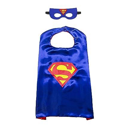 Kiddo Care - 1 juego de traje de superhéroe Superman, máscara, capa, satén