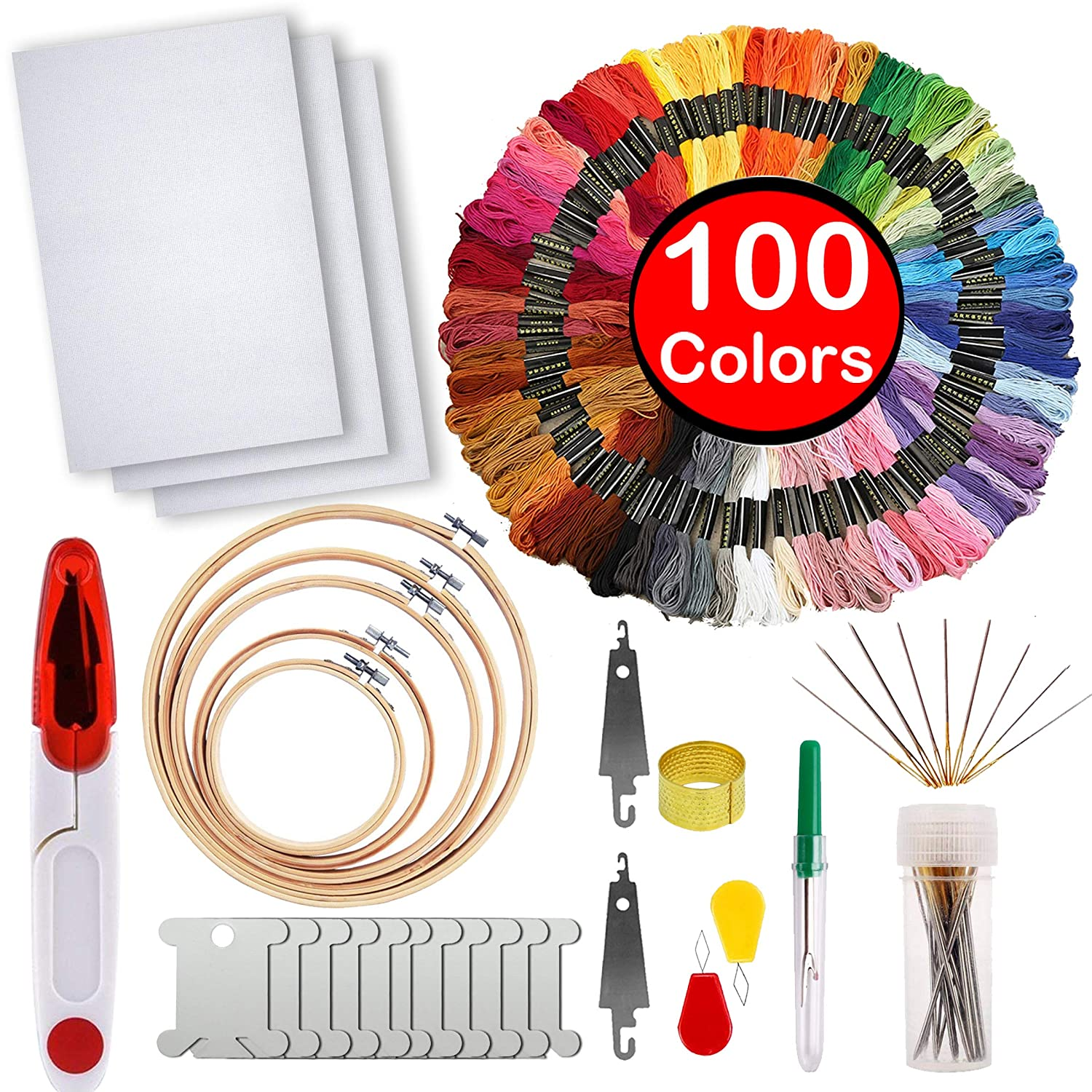 Full Range of Embroidery Starter Kit,5 Pieces Bamboo Embroidery Hoops,100 Color Embroidery Threads,Cross Stitch Tool Kit MDPQT