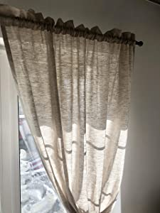 Rod Pocket with Heading Linen Drapes - in Natural, White, Green and other Colors - Privacy Curtains