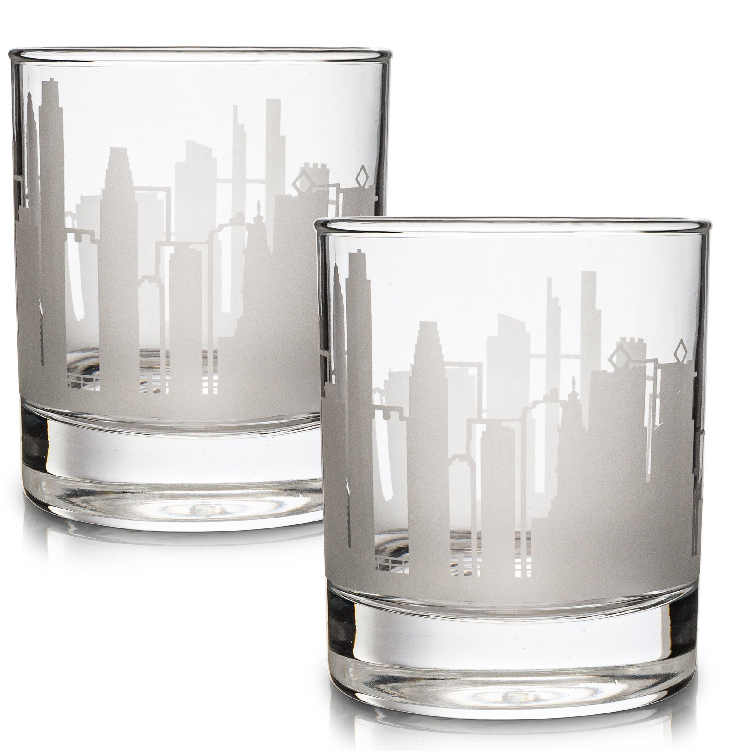 Etched Old Fashioned Whiskey Glasses - with Gift Box | 2 Skyline Tumblers - Philadelphia, PA